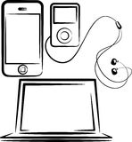Set of media devices Stock Image
