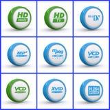 Set of media icons. Illustrated set of media icons isolated on a white background Royalty Free Stock Photos