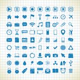 Set of media icons in the style of the sketch Stock Image
