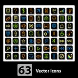 Set of  63 media Icons. Royalty Free Stock Images