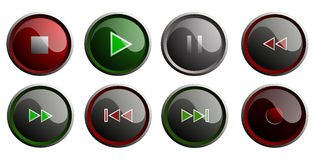 Set of media player buttons Stock Images