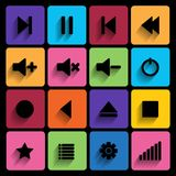 Set of media player buttons in flat design style. Stock Photography