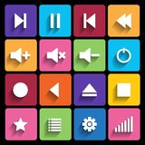 Set of media player buttons in flat design style. Royalty Free Stock Photos