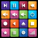 Set of media player buttons in flat design style. Royalty Free Stock Photography
