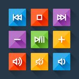 Set of media player buttons in flat design style Stock Photo