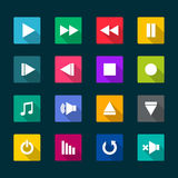 Set of media player flat icons. Vector illustration Stock Image