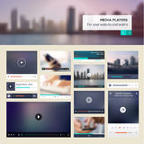 Set of media players for websites and mobile websites design Stock Photos