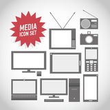 Set of media technology icons. Abstract background Royalty Free Stock Images
