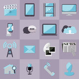 Set medialne płaskie nowożytne ikony dla interfejsu użytkownika ilustracji
