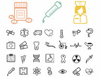 Set of medical black icons. Stock Images