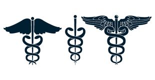 Set of medical caduceus Royalty Free Stock Photography