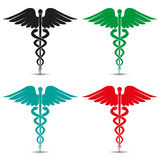 Set of medical caduceus symbol multicolored with shadow Royalty Free Stock Image