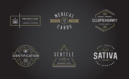 Set of Medical Cannabis Marijuana Sign or Label Template in Vect Royalty Free Stock Photography