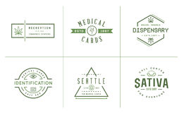 Set of Medical Cannabis Marijuana Sign or Label Template in Vect. Or. Can be used as a Logotype Stock Photo