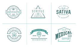 Set of Medical Cannabis Marijuana Sign or Label Template in Vect Royalty Free Stock Images