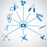 Set of medical creative blue icons Royalty Free Stock Photo