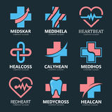 Set of medical cross logo. Pharmacy logo design template. Tooth logo. Dental logo. Medical center logo. Vector medical Stock Photo