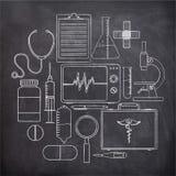 Set of Medical elements on chalkboard. Stock Photography