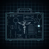 Set of Medical elements in doctors briefcase. Royalty Free Stock Photography