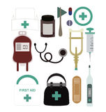 Set of Medical Equipment and Supplies. A set of Medical equipment and supplies including: Nurse hat, pill bottle, plexor, pills, cross symbol, blood bag Royalty Free Stock Image