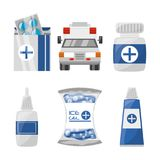 Set medical first aid kit to pharmacy urgency. Vector illustration Royalty Free Stock Image