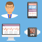 Set of medical flat design vector icons Royalty Free Stock Photography