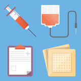 Set of medical flat design vector icons Stock Photos