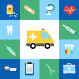 Set of medical flat icons. Including an ambulance  transport  pills  tablets  tooth  dentistry  injection  syringe  hypodermic  first aid kit  plaster  caduceus Royalty Free Stock Photo