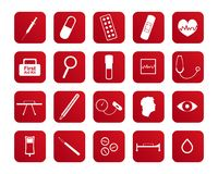 Set of medical and health care icons. Red buttons with white medical icons isolated on white background Stock Image