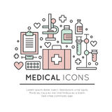 Set of Medical and Healthcare Research  Items Stock Image