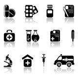 Set of medical icons. Set of black medical icons, illustration Stock Photography