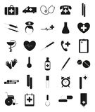 Black and white medical icons for web design. Royalty Free Stock Photography