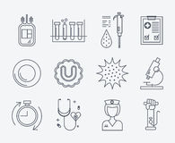 Set of medical icons - blood donation. Stock Image