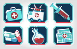 Set of medical icons - blue and red. Stock Photos