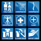 Set of Medical Icons in blue square background Stock Images