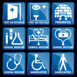 Set of Medical Icons in blue square background. FIRST AID ENTRANCE, FIRST AID FOR EYES, FRIGORIFICS, GENERAL MEDICINE, HANDICAPPED Stock Photo