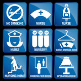 Set of Medical Icons in blue square background Stock Image