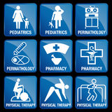 Set of Medical Icons in blue square background. PEDIATRICS, PERINATOLOGY, PHARMACY, PHYSICAL THERAPY Stock Photo