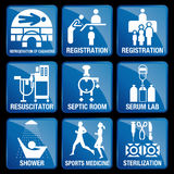 Set of Medical Icons in blue square background vector illustration
