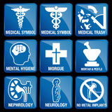 Set of Medical Icons in blue square background  Stock Photo