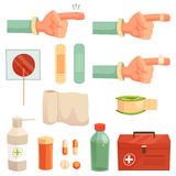 Set of medical icons. Cut on finger/ first aid kit Stock Image