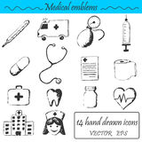 A set 14 medical icons Royalty Free Stock Photography