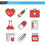Set of medical icons executed in a linear flat style. Stock Photos