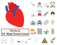 Set of 24 Medical icons. Flat color design. Vector illustration Royalty Free Stock Images