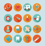Set of medical icons. Set of 16 medical flat icons, signs, symbols Royalty Free Illustration