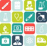 Set of medical icons in flat style. Set of medical icons in flat colorful style Stock Photography