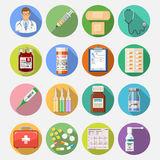Set medical icons. Set of medical and healthcare icons in flat style on colored circles with Long Shadows like Doctor, Health treatment, blood transfusion Stock Image