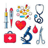 Set of medical icons isolated, color sketch Royalty Free Stock Photography