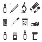A set of medical icons. Set of icons isolated on white background, pills, medication, thermometer, throat spray, nasal spray. First Aid Kit with tablets Stock Photography