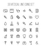 Set of medical icons in modern thin line style. High quality black outline medicine symbols for web site design and mobile apps. Simple linear health care Royalty Free Stock Photos